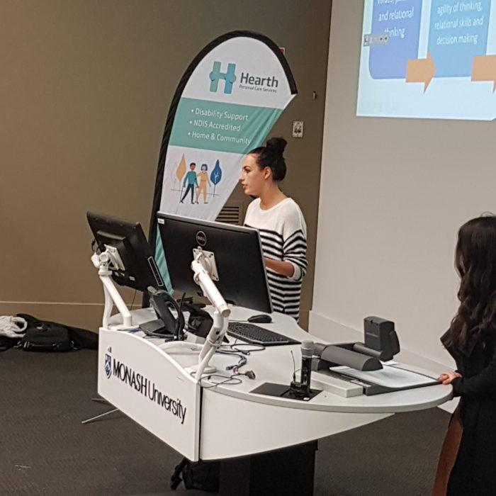 Emily Loughlan presents to Monash University