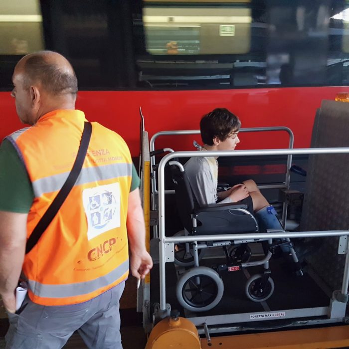 Tristan in Wheelchair. Europe Transport 2019.
